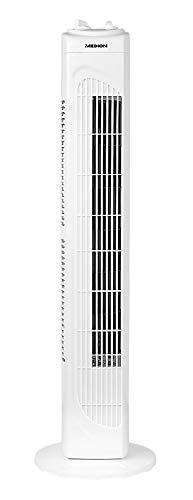MEDION Turmventilator, 3 leise Geschwindigkeitsstufen, 45 Watt Leistung, zuschaltbare Schwenkfunktion - Oszillation, MD18164, weiß