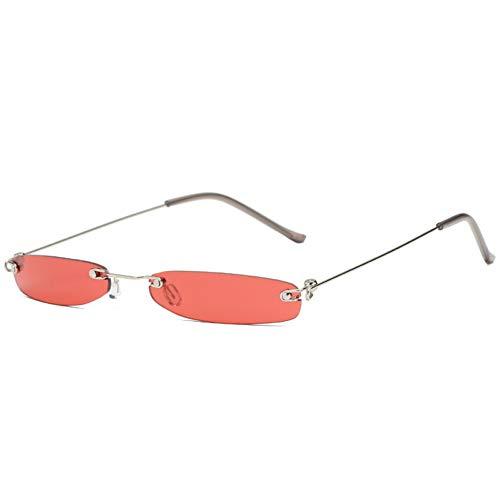 TIANKON Frauen Kleine Sonnenbrille Männer Kleine Retro Rechteck Randlose Sonnenbrille Weibliche Ultraleicht Brille Markendesigner Frauen,rot