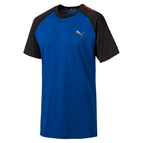 PUMA Herren Collective Raglan Tee T-Shirt, Galaxy Blue Black Heather, L - Puma Herren Raglan