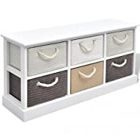 vidaXL Storage Bench 6 Drawers Wood Entryway Hall Cabinet Trunk Chest Stool