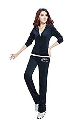 Women's Velour Classic Hoodie Tracksuit Sweat Suit Jacket and Pants