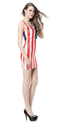Thenice - Robe - Trapèze - Sans Manche - Femme Multicolore SKULL BLACK Taille Unique Drapeau des USA