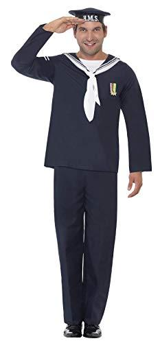 Marine Zombie Kostüm - Smiffys Herren Marine Matrose Kostüm, Mütze, Oberteil und Hose, Größe: L, 22129