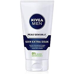 NIVEA MEN Peau Sensible Soin Extra Doux (1 x 75 ml), Crème hydratante pour les hommes à la peau sensible et irritée, Soin homme hydratant & apaisant 0% alcool