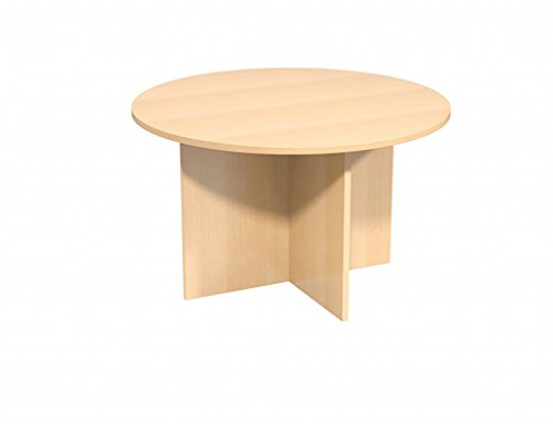 BiMi 25 mm Thick 1100mm Diameter Round Meeting Table with 4 Star Wooden Legs Colour: Beech