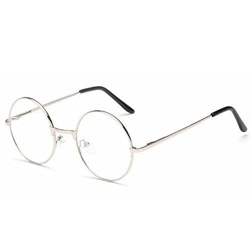 ProProCo Fashion Brille ohne Stärke für Damen und Herren Unisex Transparente Fashion Brille Nerd Brille (Silber)