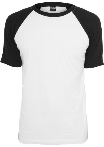 URBAN CLASSICS - Raglan Contrast Tee (white-black), Gr. L (Sleeve Tee Zip)