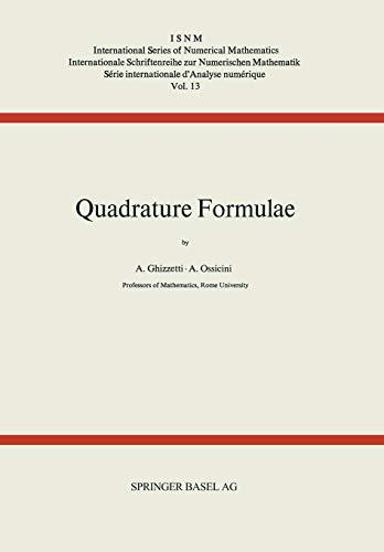 Quadrature Formulae (International Series of Numerical Mathematics) (German Edition)