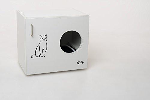 Hermesmöbel Katzenschrank Feline (KLOFEL) B/T/H 60 x 41 x 53,5 cm weiß matt Katzentoilette Katzenhaus Katzenhöhle