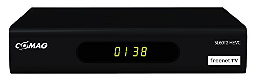 Comag SL60T2 Full-HD HEVC DVBT/T2 Receiver (PVR Ready, H.265, HDTV, HDMI, IRDETO Zugangssystem für Freenet TV, Mediaplayer, USB 2.0, 12V) schwarz
