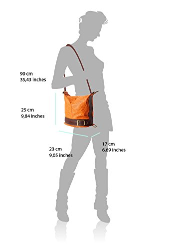 Bucket backpack purse transformable in bucket bag with pattern aus Italien Weiß/Braun