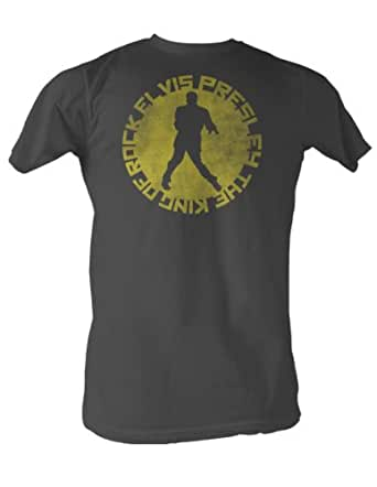 Elvis Presley - King Of Circle Mens T-Shirt In Charcoal, Size: XX-Large, Color: Charcoal