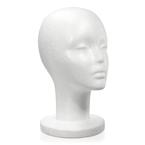 KINGSO Tête A Presentoir Perruque Chapeau Femme Polystyrène Mannequin Marotte Holder