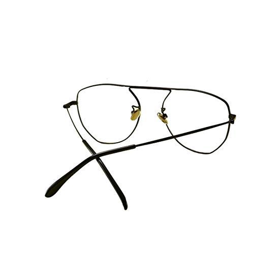 Shiduoli Unregelmäßige Brille Metall Männer und Frauen Schwarze Brille Rahmen gefälschte Brille für Männer, Frauen (Color : Black)