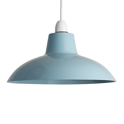 Retro light shade amazon retro style gloss blue metal easy fit ceiling pendant light shade aloadofball Image collections