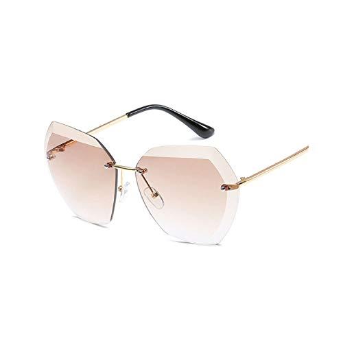 Vikimen Sportbrillen, Angeln Golfbrille,Rimless Sunglasses Women Brand Designer Diamond Cutting Lens Sun Glasses Oversized Gradient Transparent Glasses Plastic as picture PINK