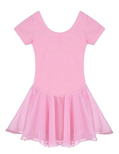 Mädchen Ballettkleid, Pagacat Kinder Ballettanzug Ballett Tutu Tütü Trikot Kurzarm mit Röckchen 5 Farben 125cm-165cm