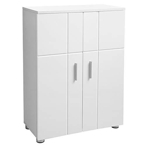 Vasagle armadietto da bagno, mobiletto multiuso con doppia anta, ripiani regolabili, cerniere ammortizzate, mobile per bagno cucina corridoio, piedini regolabili, 60 x 30 x 82 cm, bianco bbk42wt