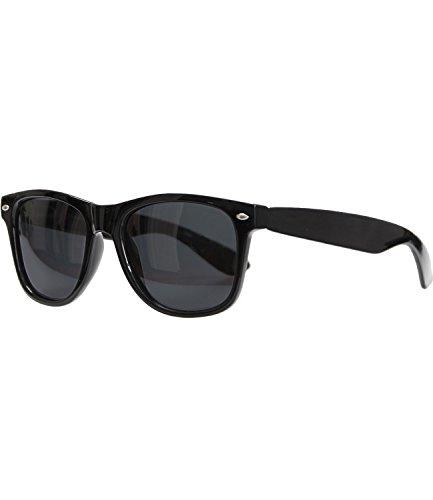 Caripe Retro Nerd Vintage Sonnenbrille verspiegelt Damen Herren 80er - SP (schwarz - Black polarisiert - 6007)
