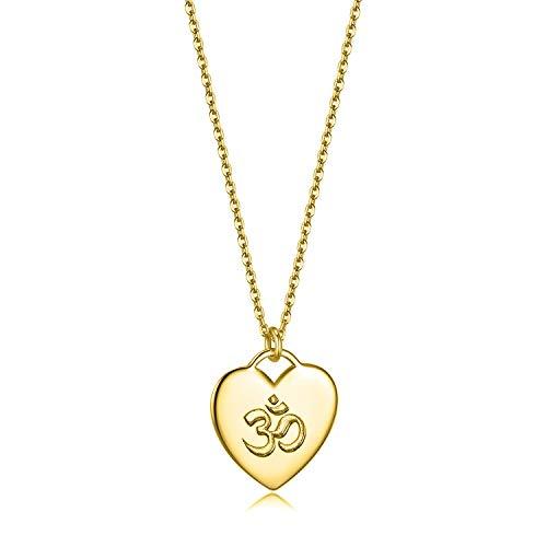 Herzschlag Damen Schmuck Halskette 925 Sterling Silber Einstellbar Herz Anhänger (Yoga Om - Goldfarben)