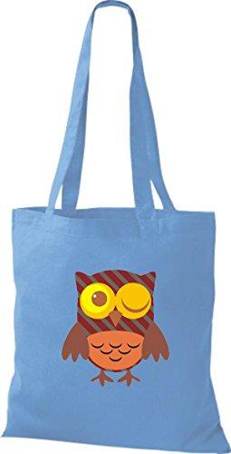 ShirtInStyle Jute Stoffbeutel Bunte Eule niedliche Tragetasche Owl Retro diverse Farbe, hellblau