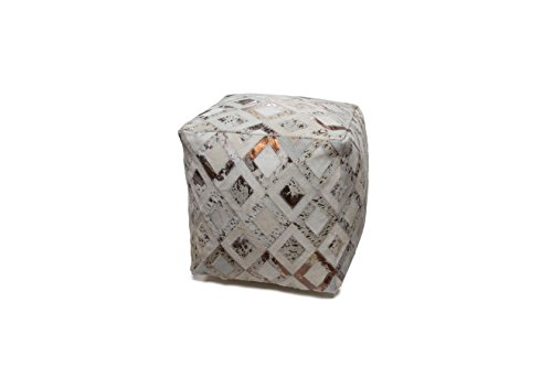 Hocker Sitz-Würfel Patschwork Design Spark Pouf 100 Bean Bag Rauten Muster Leder 45x45 cm...