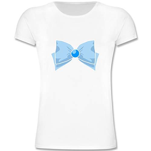 Shorts Kostüm Sailor Girl - Karneval & Fasching Kinder - Superheld Manga Merkur Kostüm - 140 (9-11 Jahre) - Weiß - F131K - Mädchen Kinder T-Shirt