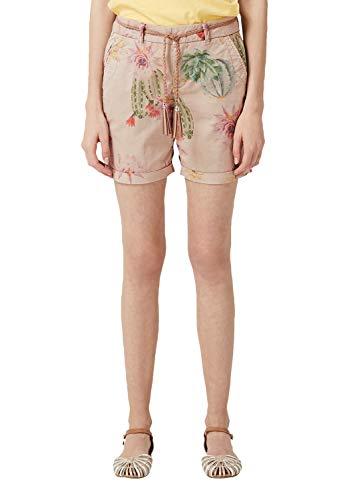 s.Oliver RED LABEL Damen Smart Short: Hose mit Flechtgürtel beige floral Print 42 -