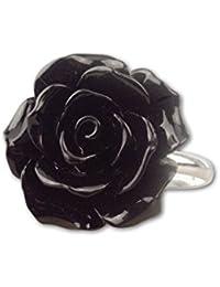 etNox-Ring ''Black Rose'' Polyresin + 925 Silber (R4500B)