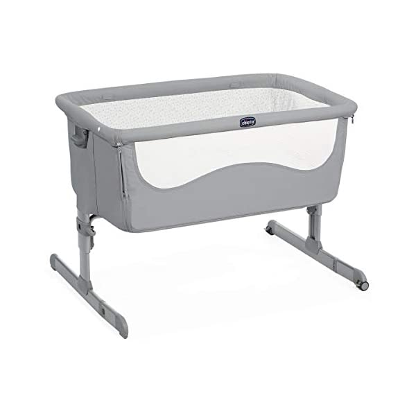 Chicco Next2Me Unisex Cot for All Beds Pearl Grey  Adjustable height in 6 positions Compatible with almost all beds Tiltable so baby breathes better 1