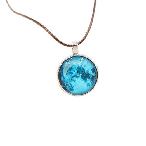 WJSAT Halskette Männer Und Frauen Vintage Schmuck Glas Cabochon Leuchtende Halskette Glühen Dunkle Silber Mond Mond Anhänger Halskette
