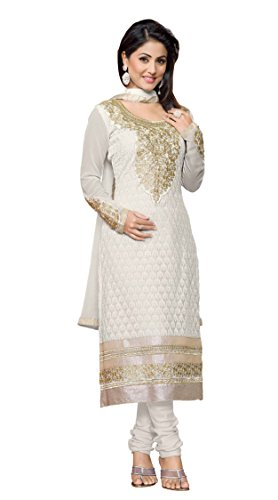 Khushali Women Georgette Karachi Unstitched Salwar Suit Dress Materials (White)  available at amazon for Rs.1310