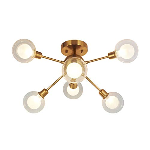 RUCHUFT Moderne Sputnik Kronleuchter Beleuchtung G9 40W (inkl. Leuchtmittel) 6 Lichter Gebürstetem Messing Semi Flush Mount Deckenleuchte Mid Century Glas Pendelleuchte (Brushed Brass -6c) -