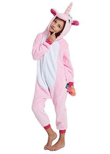 Silver Basic Jumpsuit Mädchen Schlafoveralls Tier Karton Kostüm Karneval Pyjama Tierkostüme Schlafanzug Unisex Cosplay Rosa 140 (Basic Kostüm Mädchen)