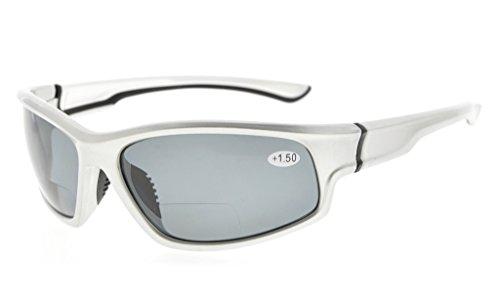 Eyekepper Sport Bifocal Lesebrille TR90 Unzerbrechliche Sonnenbrille Baseball Laufen Angeln Fahren Golf Softball Wandern(Silber rahmen/graues Linse,+ 1.00) (Sonnenbrillen Baseball Silber)