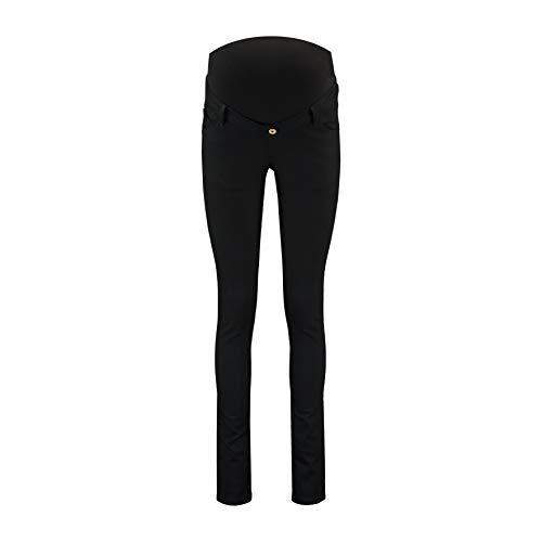 Love2Wait Damen Umstandshose Schwangerschafts-Jeans Jeggins Sophia - stützendes Bauchband normaler Bund super-Stretch Straight-Fit Washed schwarz