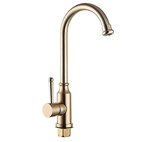 Kitchen vertical single hole faucet basin hot and cold tap aluminum ?Tall Spout