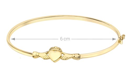 Carissima Gold 9ct Yellow Gold Claddagh Bangle