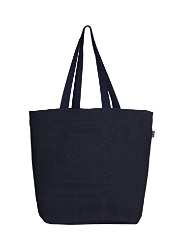(Eono Essentials Tragetasche, 100% Jute / Baumwolle, wiederverwendbar, umweltfreundlich, groß, Blau)