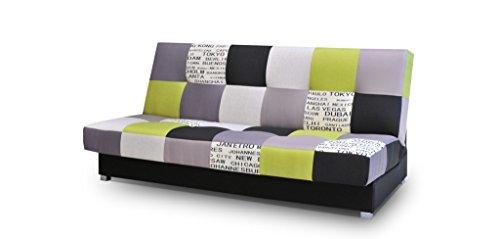 mb-moebel Patchwork Schlafsofa Kippsofa Sofa mit Schlaffunktion Klappsofa Bettfunktion mit Bettkasten Couchgarnitur Couch Sofagarnitur Ausziehbar - Mexico (Grün)