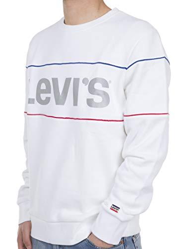 Levis Herren Sweatshirt Graphic Reflective Crewneck 69873-0000 White with Embroidery, Größe:L (Graphic Crewneck Sweatshirt)