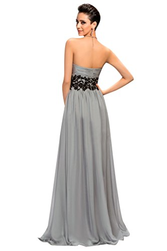 Sunvary Neu Damen herzform Chiffon Falte Applikation Abendkleid Lang  Ballkleid Grape