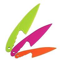 Jatidne 3pcs Lettuce Knife Nylon Kitchen Knives for Kids Safe Colorful Plastic Cooking Knives for Children Chef Knife Salad Bread Knife