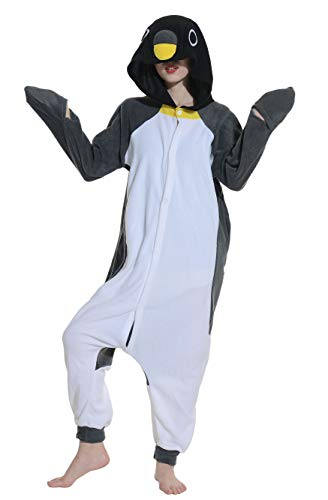 Pigiama anime cosplay halloween costume kigurumi attrezzatura adulto animale onesie unisex, grigio pinguino per altezze da 140 a 187 cm
