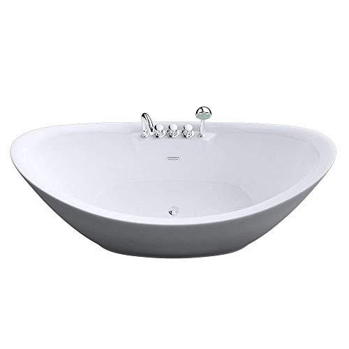 Sogood Freistehende Design-Badewanne Vicenza603 180x80x80cm komplett mit Ablaufgarnitur inkl. Armaturen und Überlauf aus Acryl in Weiß und DIN-Anschlüssen