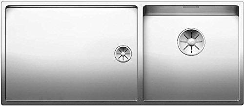 Blanco Claron 400/550-T-U, Kombination aus Spülbecken und Tropfbereich (Spüle rechts) für den Unterbau, Unterbaubecken, InFino-Auslauf, Edelstahl Seidenglanz; 521602 (Akzent 400 Möbel)
