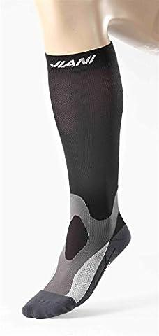 Chaussettes de compression pieds et mollets - Running, Course à pied, Marathon, Trail, Footing - Seconde peau, ultra resistantes, lègeres - Hommes et Femmes - Jiani Sport (Noire - Grise, 38-43)
