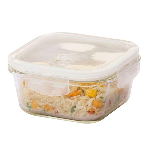 emora Borosilicate Square Glass Food Storage Container Container with Air Vent Lid- Microwave Safe, Air Tight, Leak Resistant- 1 Year Warranty
