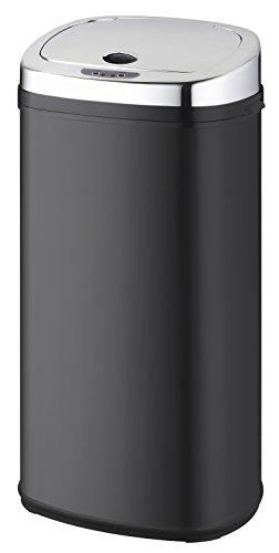 Kitchen Move BAT-42LS02-A Nouveau Modèle 2016 Poubelle de Cuisine Automatique Forme Carré Inox Noir 42 L