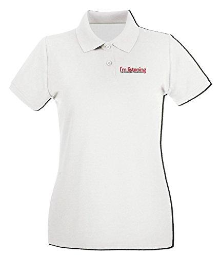T-Shirtshock - Polo pour femme OLDENG00127 im listening Blanc